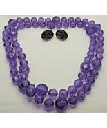 """Fashion Jewelry Purple Plastic 38"""" Beaded Necklace & Pierced Earrings Se... - $14.24"""