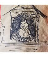 Fine outsider art pen & ink sketch of a chicken Signed - $9.74