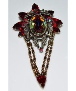 VTG Gold Tone Red AB Rhinestone Floral Flower Dangle Pin Brooch - $44.55