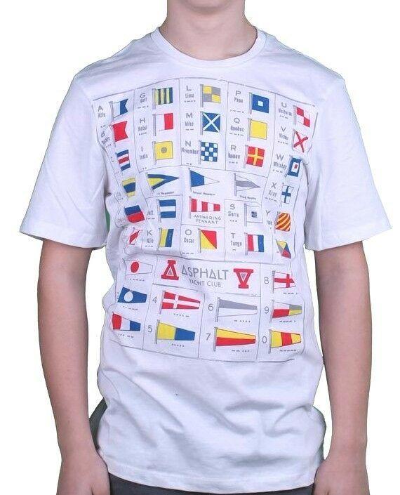 Asphalt Yacht Club Homme Blanc Alpha T-Shirt Maritime Signal Flags Fanions Nwt