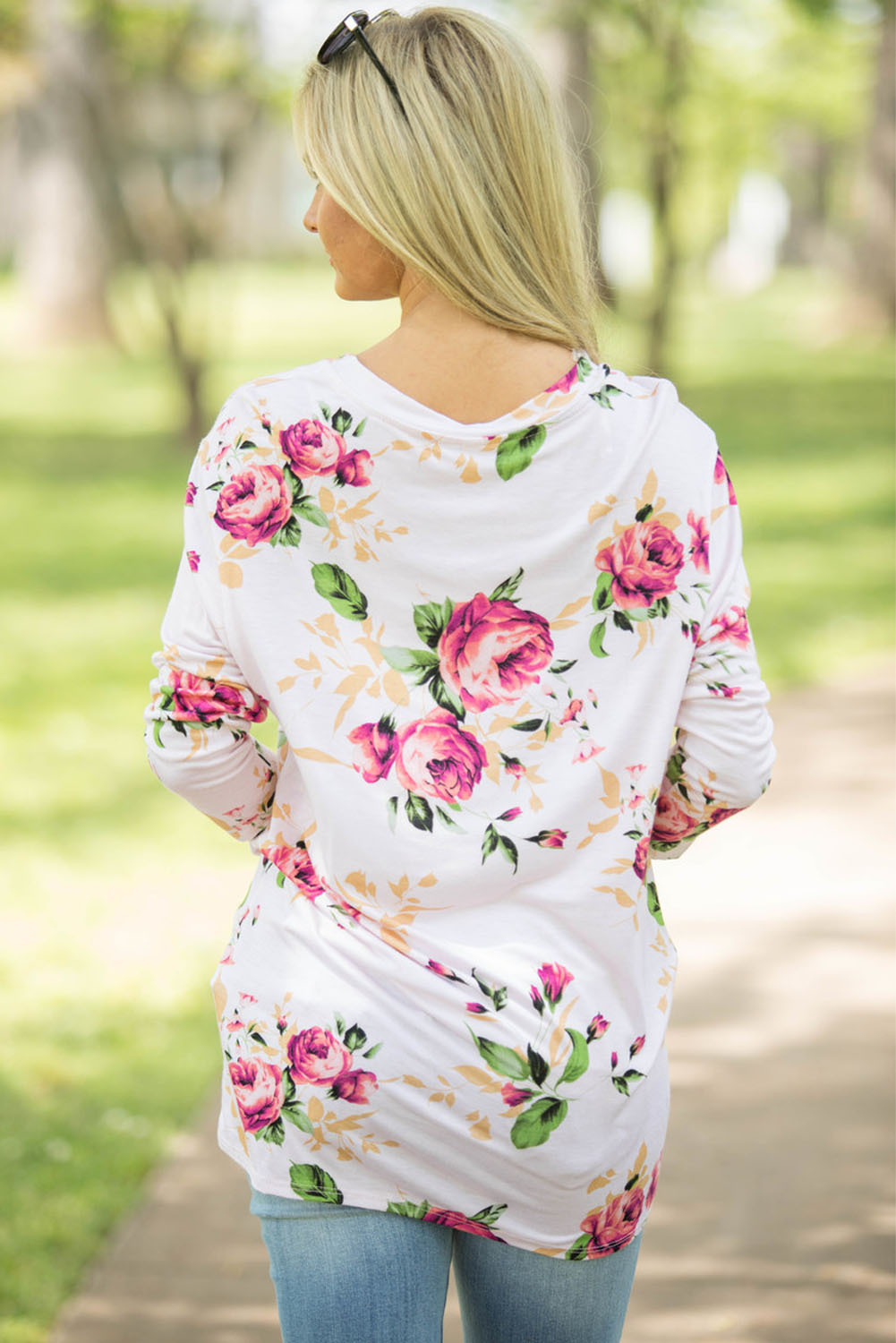 White Long Sleeve Knotted Floral Print Blouse