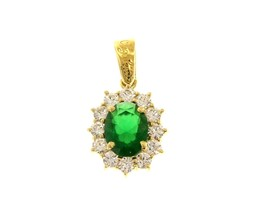 18K YELLOW GOLD FLOWER PENDANT BIG OVAL GREEN 9x7mm CRYSTAL CUBIC ZIRCONIA FRAME image 1