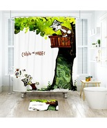 Cartoon 47 Shower Curtain Waterproof Polyester Fabric & Bath Mat For Bat... - $15.30+
