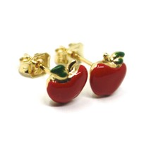 18K YELLOW GOLD STUD EARRINGS, ENAMEL RED APPLE, 9mm, 0.35 INCHES   image 2