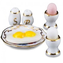 Dollhouse Egg Breakfast Set w S & P 1.328/5 Reutter Porcelain Miniature - $20.21
