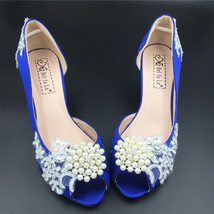 Women Blue Wedding Heels,Women Blue Satin Bridal Shoes,Blue Peep Toe Low Heels - $48.00