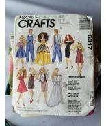 Mccall's Basteln Barbie Puppe Bekleidung Muster 6317 W / Vorgeschnitten ... - $30.39
