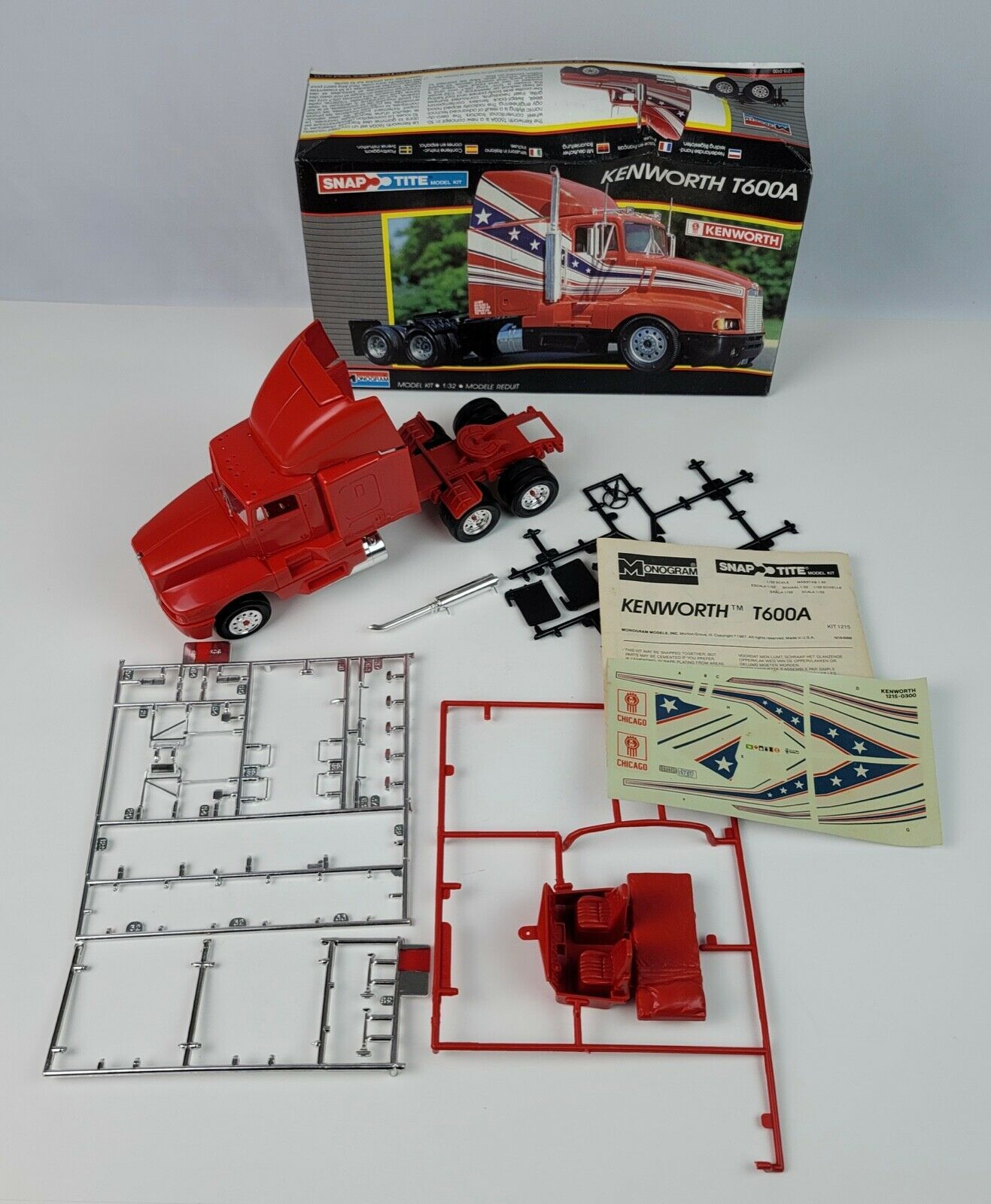 Monogram Snap Tite Kenworth T600A 1/32 scale Model Kit Semi Cab Nearly Completed - $46.74