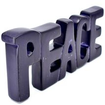 Vaneal Group Hand Carved Soapstone Purple PEACE Free-Standing Word Sign Decor image 5