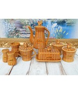 Rooster Coffee Set Mid Century Ceramic Faux Wicker Table Set Coffee Pot,... - $139.00