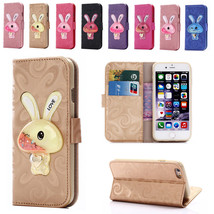 Rabbit Glitter Leather Wallet Case Stand Cover for iPhone 5 5S SE 6S 6 7 7 Plus - $5.89+
