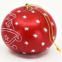 Handcrafted Carved Gourd Art Santa w Sleigh Mini Christmas Ornament Made in Peru image 3