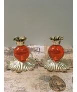 Vintage Lucite Taper Candle Holders Orange Mid Century Mod Funky Retro  - $14.00
