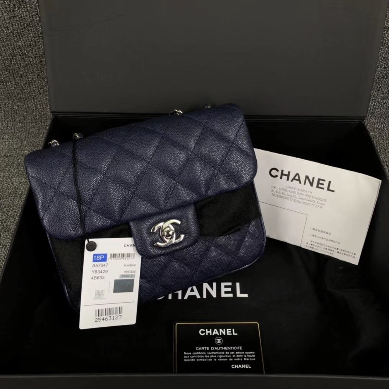AUTH BNIB CHANEL 2018 DARK NAVY QUILTED CAVIAR LARGE MINI FLAP BAG RECEIPT