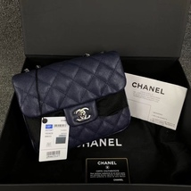 AUTH BNIB CHANEL 2018 DARK NAVY QUILTED CAVIAR LARGE MINI FLAP BAG RECEIPT  - $4,299.99