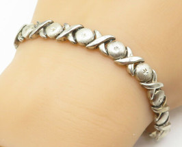 STARGOLD 925 Silver - Vintage Hugs & Kisses XO Link Chain Bracelet - B5000 - $31.22