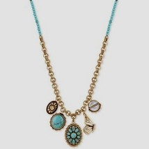 Lucky Brand Turquoise Beaded Butterfly Charm Antique Gold Tonenwt - $24.99