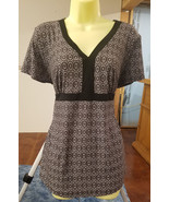 womens v neck blouse size large white black circles rectangles womans to... - $4.50