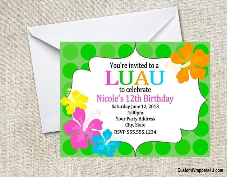 Luau Chalkboard Birthday Party Invitations And Similar Items S L1600