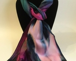 Hand Painted Silk Scarf Pink Teal Green Womens Unique Rectangle Best Gift New