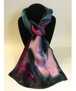 Hand Painted Silk Scarf Pink Teal Green Womens Unique Rectangle Best Gift New - €47,20 EUR