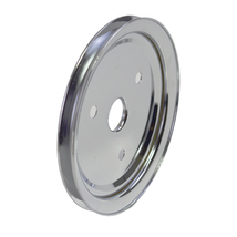 CHEVY SMALL BLOCK SINGLE-GROOVE STEEL SHORT WATER PUMP CRANKSHAFT PULLEY CHROME image 3