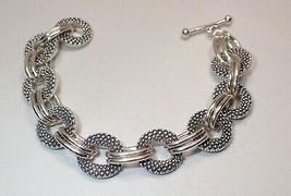 Michael Dawkins Heavy Interlocking Pebble Link Sterling Silver Toggle Br... - $130.89