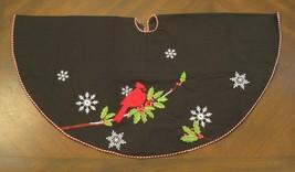 "40""Christmas Tree Skirt Black w/Embroidered Cardinal Snowflakes Red & White Trim - $32.62"