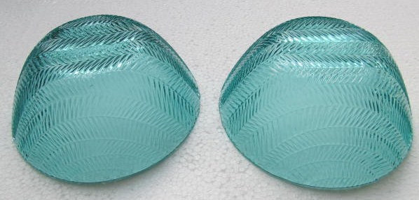 Arcoroc (2) Large Turquoise Blue Color Glass Serving Bowls In The Wheat Design - image 2