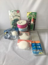Lot of 9 Crafting Pieces Ribbon Foam Balls Glue Sticks Beads Plastic Can... - $16.99