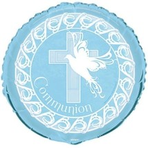 "Blue Dove Cross Foil Mylar Round Balloon Party ""Communion"" - $2.84"