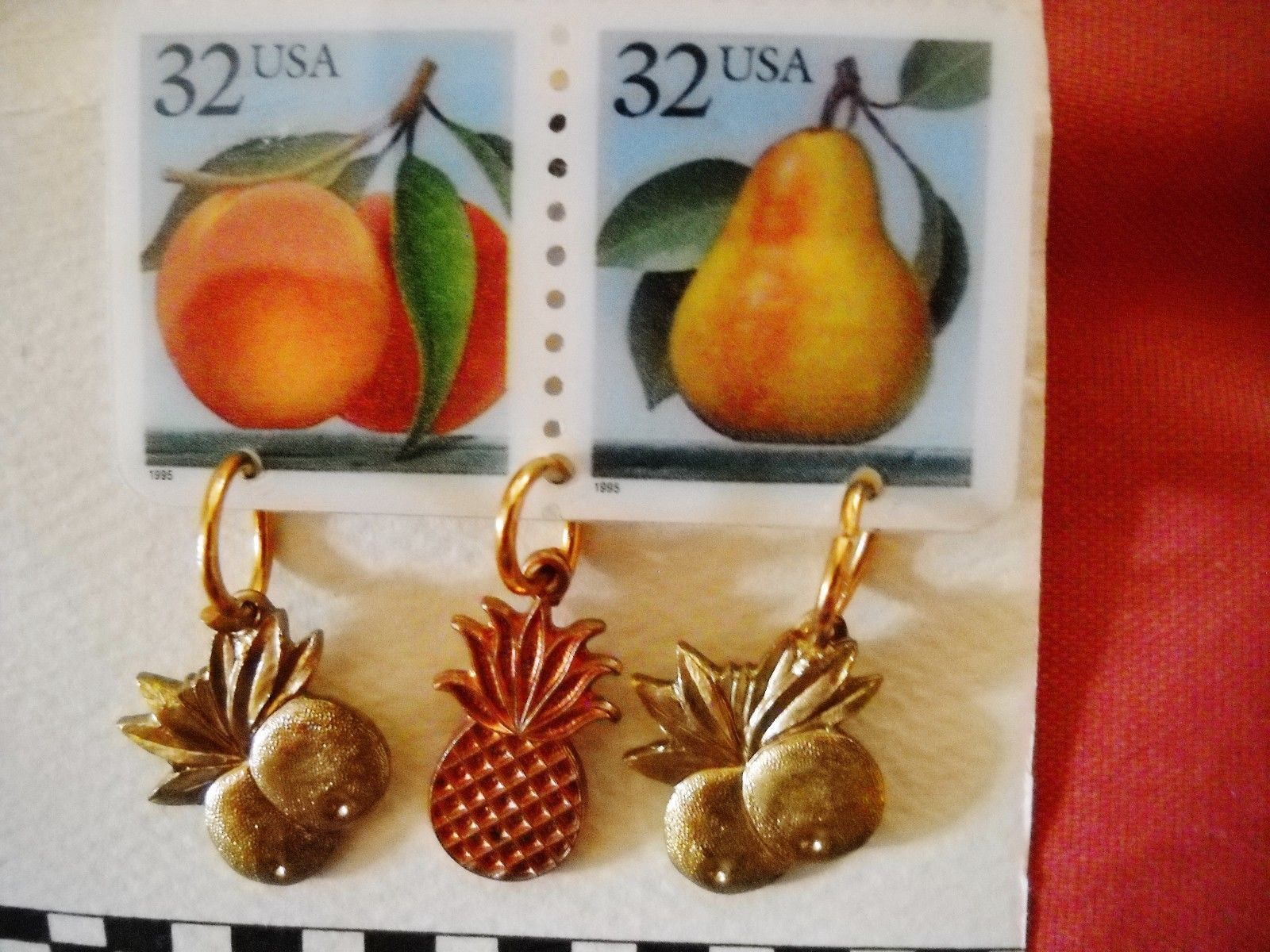 """NOC """"THE STAMP COLLECTION"""" UNIQUE PLASTIC POSTAGE STAMP & FRUIT CHARM PIN"""