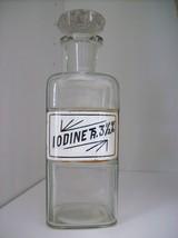 "Circa 1800's Glass Label Apothecary Bottle~LUG~7""Tall~IODINE TR. 3 1/2 %... - $148.49"