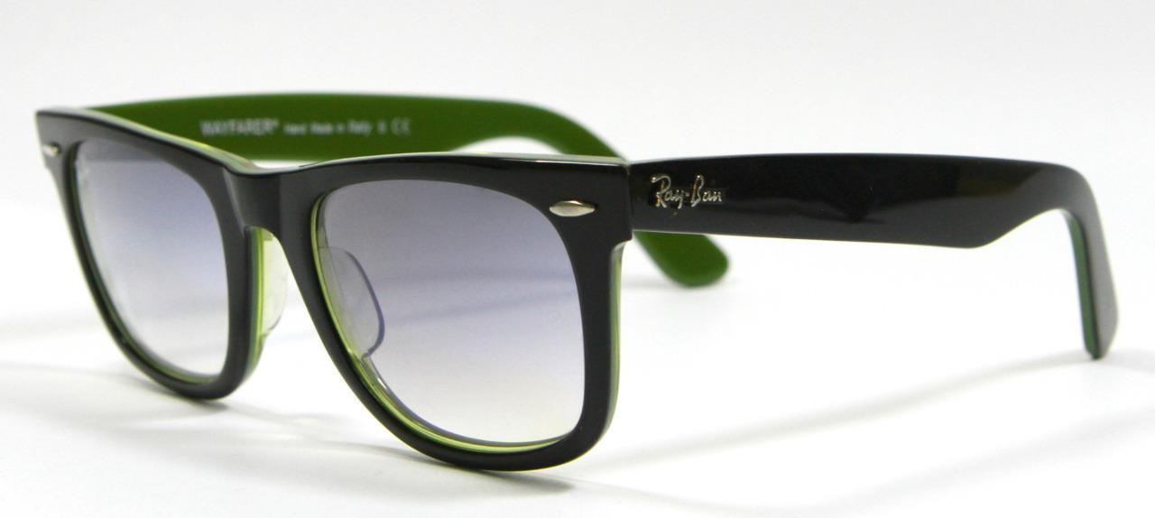 Primary image for Very Rare Ray Ban 2140 999/32 Black&Green Wayfarer Sunglasses 50mm New Authentic
