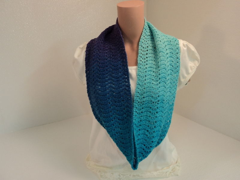 Handcrafted Wrap Cowl Teal Blue Purple Lace Ombre 100% Wool Female Adult