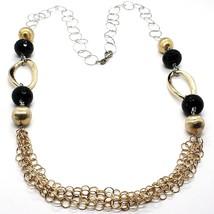 Halskette Silber 925, Onyx, Ovale Wellig, Kugel Matt , Kette Rolo image 1