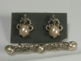 Vintage Victorian Faux Pearl & Marcasite Brooch and Earrings - $34.65