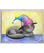 Little Witch Kitty, A Halloween Cat - Original Drawing/Art (Mixed media,... - $18.00