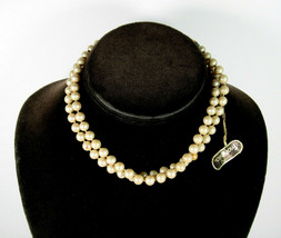 MARVELLA Double Strand Glass Faux PEARL Beads Necklace Vintage Signed & TAG - $14.99