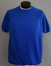 Vintage 80s Royal Blue Blank Short Sleeve Sweatshirt Size Large to XL - $39.99