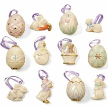 Lenox Easter Miniature Tree Ornaments Set of 12 Eggs Bunny Lamb Chick Du... - $117.00