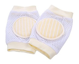 1 Pairs Reticular Crawling Baby Knee Pads Protector Kids Knee Pad Yellow image 2