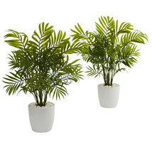 Palms in White Planter Artificial Plant (Set of 2) - $62.99