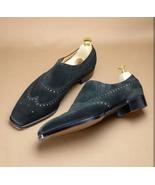 Black Suede Leather Wing Tip Men Premium Leather Handmade Moccasin Loafe... - $139.90+