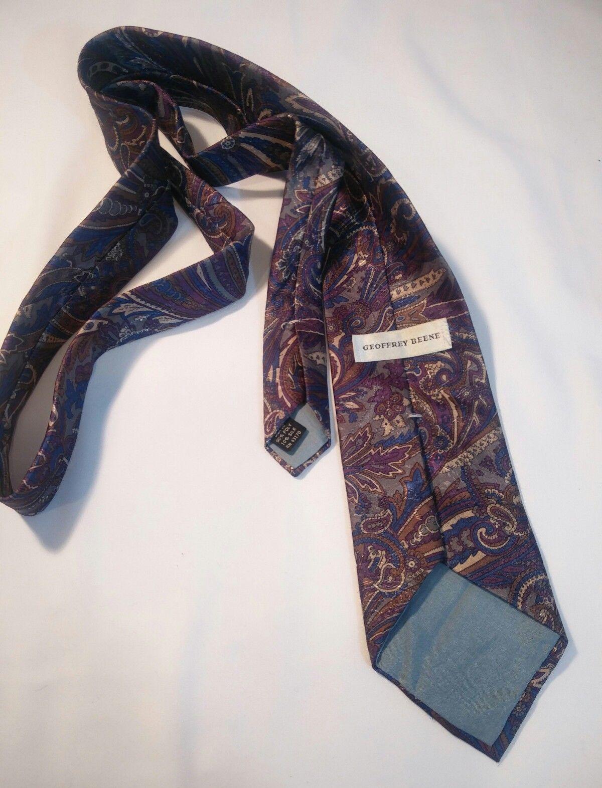 Geoffrey Beene Mens 3 Ties + CashMe Green Plaid Acrylic Scarf Handmade Silk Tie image 6