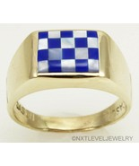 Vintage 1940's SIGNED DASON Natural Lapis & Pearl Inlay 10k Solid Gold M... - $589.05