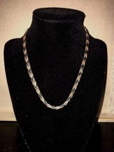 Tricolor Canadian STERLING SILVER Herringbone Necklace - $48.38
