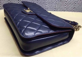 AUTHENTIC CHANEL RARE NAVY BLUE QUILTED LAMBSKIN LARGE PERFECT EDGE BAG GOLD HW  image 8
