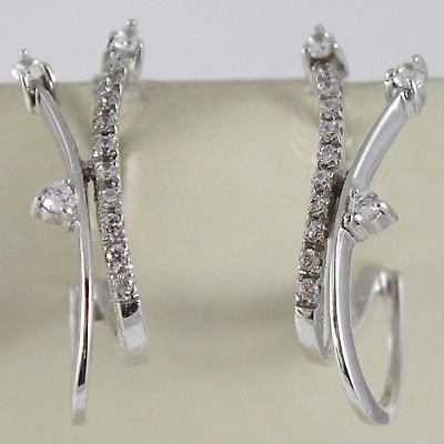 WHITE GOLD EARRINGS 750 18K HANGING WITH ZIRCON, DOUBLE WAVE, 2.7 CM