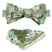 SetSense Men's Paisley Jacquard Wedding Party Self Bow Tie Pocket Square Set Bei - $24.54